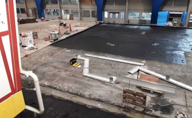 Waterdichte werk vloer